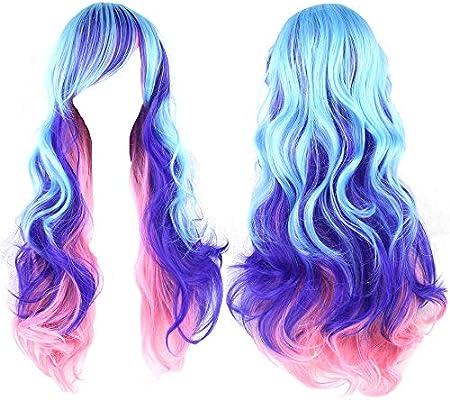 Two-Toned Women Girls Long Curly Wavy Cosplay Lolita Harajuku Anime Costume Wigs