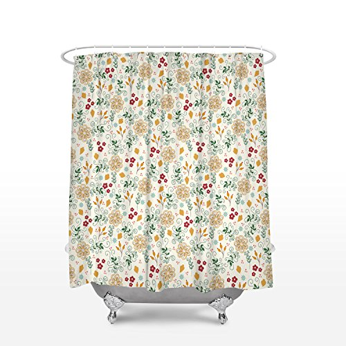 Anzona Simple and Classic Floral Pattern Personalized Shower Curtain for Bathroom Decor, Waterproof Fabric Curtain Set with Hooks, 72 x 72inch