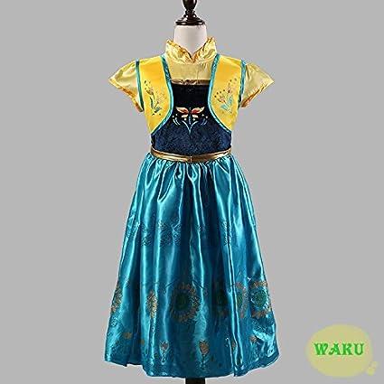 アナと雪の女王 アナ風ドレス アナのブローチセット 子供用 L 150㎝ 大人用 S ハロウィン 衣装 コスプレ 大人用 S