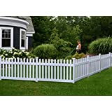 zippity outdoor products zp19002 high no dig newport vinyl permanent picket unassembled yard fence 36 white - Decorative Fence Panels