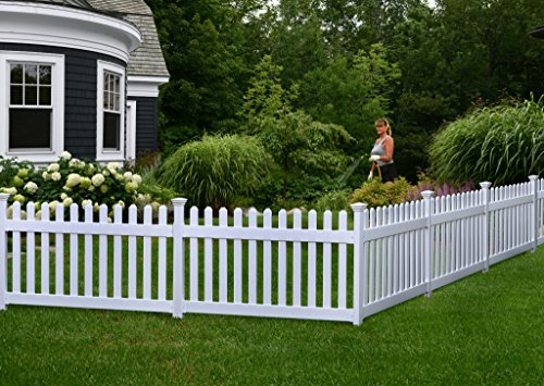 Zippity Outdoor Products ZP19002 High No-Dig Newport Vinyl Permanent Picket Unassembled Yard Fence, 36