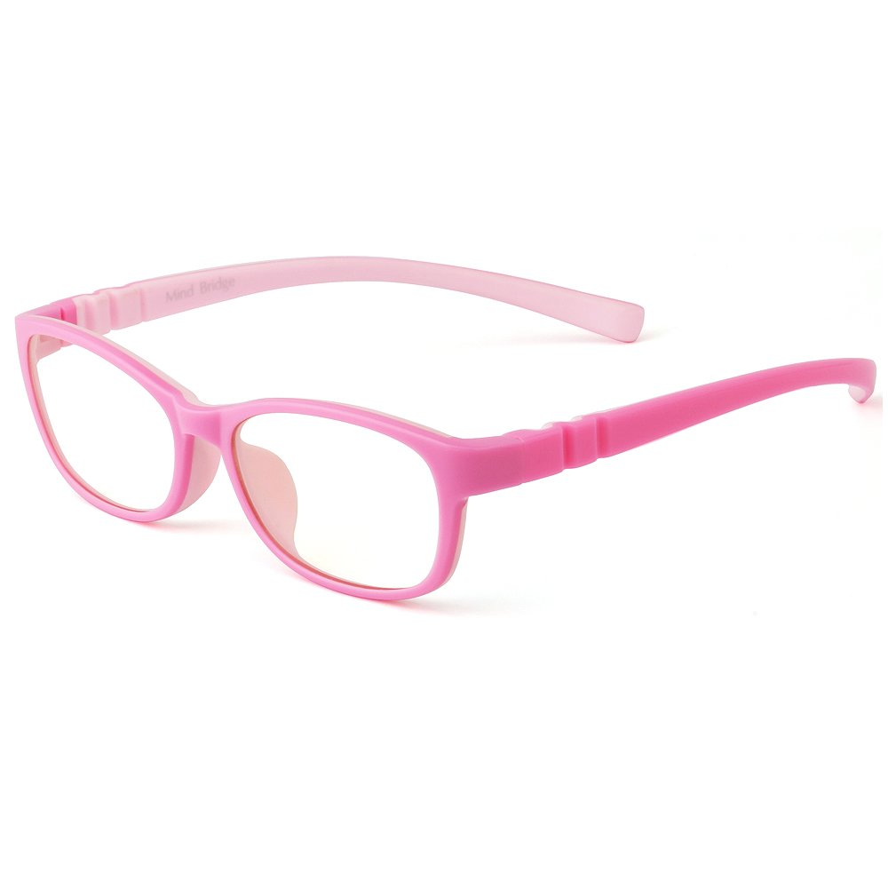 Mind Bridge Kids Computer Glasses Video Gaming Glasses - Anti Harmful Blue Light/UV400 | Anti Glare | Protection Eyewear for Children Digital Screen Time & Technology Use | Model 558 (Pink)