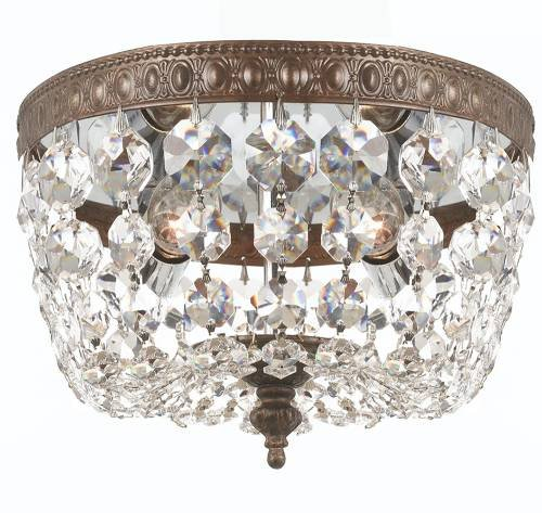 Crystorama 708-EB-CL-MWP Richmond - Two Light Flush Mount, English Bronze Finish with Clear Hand Cut Crystal