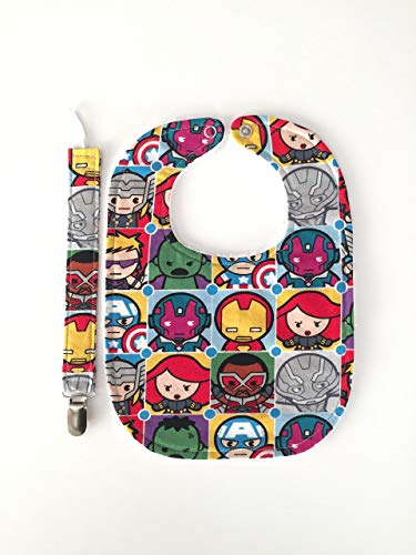 Marvel Justice League Kawaii Characters Iron man, hulk, captain america, black widow Baby Gift Set Bib with Matching Pacifier Clip Handmade in the USA