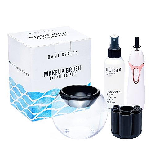 Makeup Brush Cleaner Kit by NAMI - Quickly Wash and Sanitize Make Up Cosmetic Brushes - Machine Spinning Cleanser for Easy Cleaning - Includes Bowl and Multi Size Tool Holders from NAMI Beauty