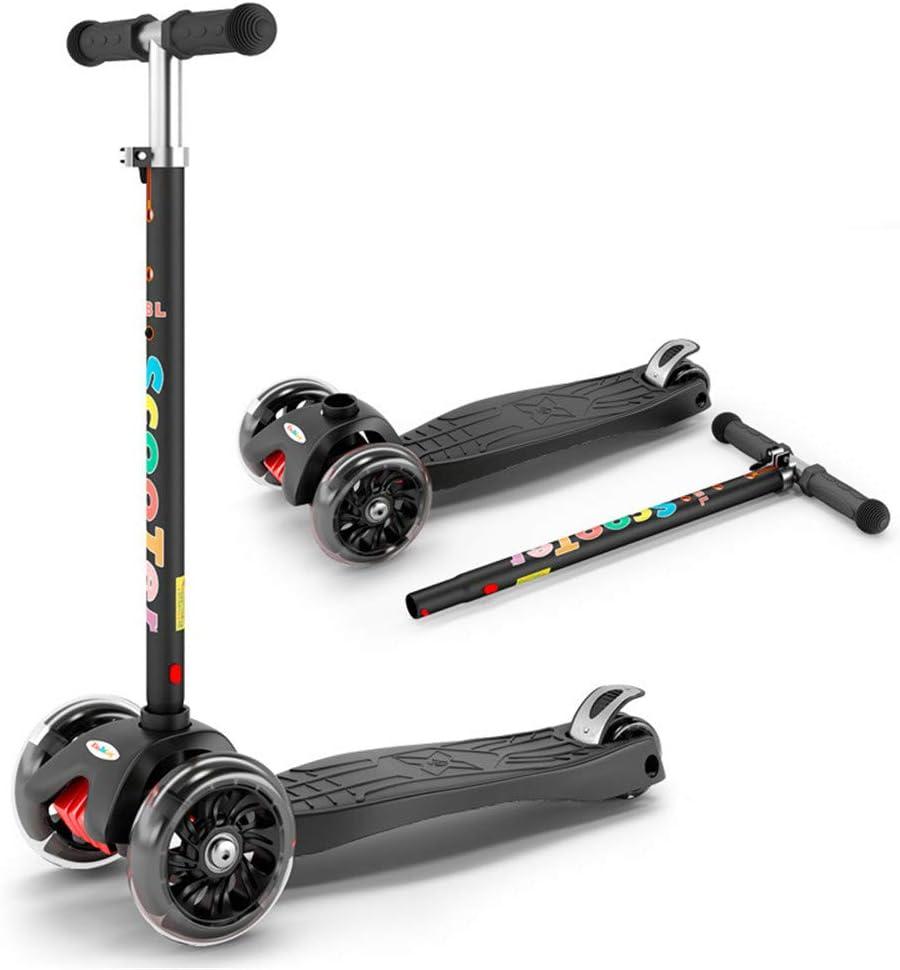 キックスクーター 3輪 キックボード 持ち運びに便利 足踏み式 3段階調整可能 3-14歳に向け LED 光るホイール 後輪ブレーキ 子供用 黒