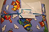 Pocket-2in1-Sheet Flying Bears with White Flannel 2 in 1 Patented No Slip Reversible Pack n Play Play Yard Fitted Sheet Cover or Day Care Mini Crib Mattress Sheet