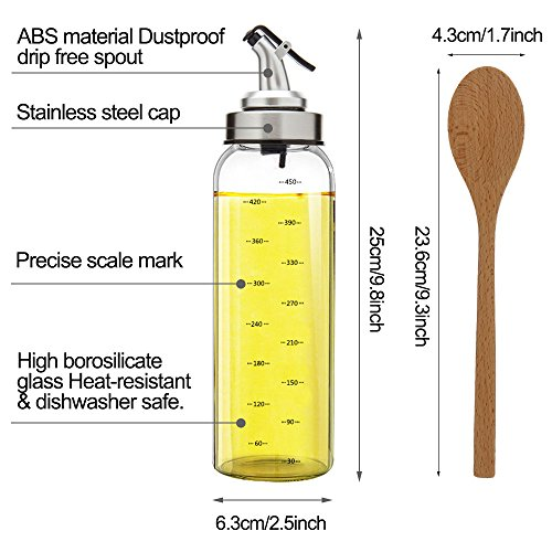 TIMGOU 17oz Olive Oil Dispenser with a 9.3'' Wood Salad Spoon, Lead-Free Glass Bottle Oil Container No Drip Pourer for Salad Dressing Cruets for Balsamic Vinegar, Soy Sauce by TIMGOU (Image #2)
