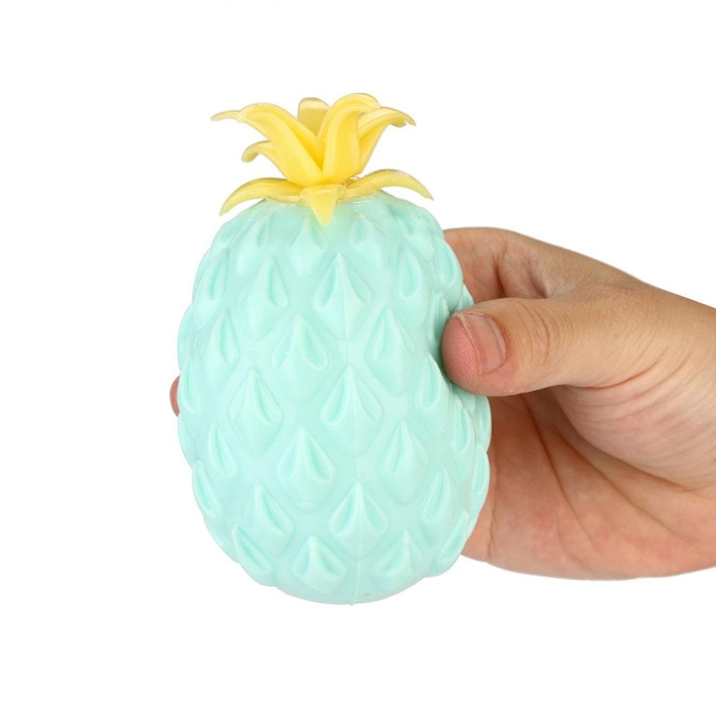 REYO Mochi Stress Toys, 1Cent Item Novelty Simulation Pineapple Squeeze Slow Rising Soft Squishy Animals Stress Relief Toys Decompression Squishy Squeeze Stress Balls (11x7cm Blue)