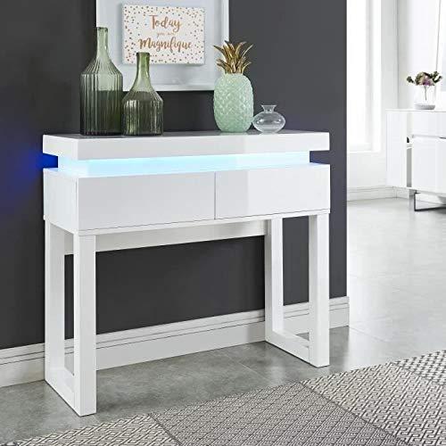 G/én/érique Flash Console avec LED Style Contemporain Blanc laqu/é Brillant L 90 cm