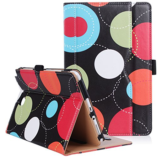 ProCase Galaxy Tab A 8.0 Case (2015 Old Model) - Standing Cover Folio Case for 2015 Galaxy Tab A Tablet (8.0 inch, SM-T350 P350) - Circles