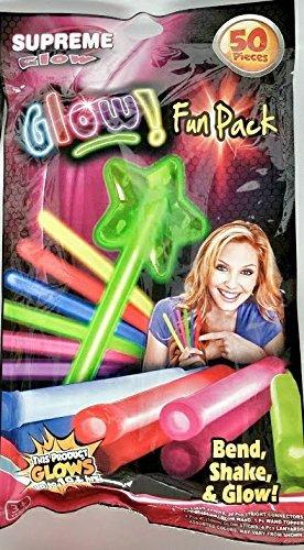 Glow in the Dark 50 piece Fun Pack Assorted Glow Sticks, Glow Wand, Lanyards, Light Sticks for Parties and Backyard Fun -