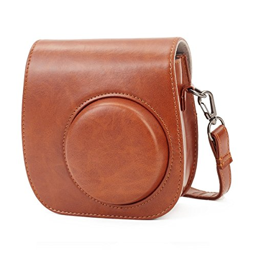 Phetium Soft PU Leather Protective Case with Shoulder Strap and Pocket for Fujifilm Instax Mini 8 8+ / Mini 9 Instant Camera (Brown)