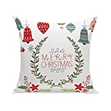MIARHB Christmas Winter Deer, Merry Chritmas Letter Printed Cotton Linen Home Decorative Throw Pillow Case Cushion Cover for Sofa Couch(18'' x 18'', E)
