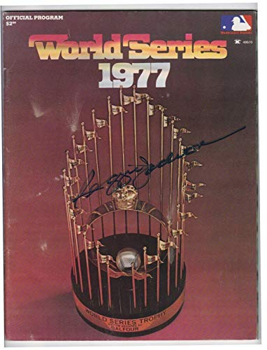 1977 Official World Series Program Signed By Reggie Jackson Auto Autograph - JSA Certified - MLB Autographed Miscellaneous Items