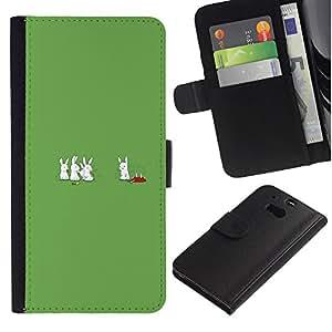 HTC One M8 - Dibujo PU billetera de cuero Funda Case Caso de la piel de la bolsa protectora Para (Cannibal Bunny Rabbits - Funny)