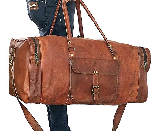 8ff7dea44630 Leather bag 24 Inch Square Duffel Travel Duffle Gym Sports Overnight  Weekend Leather Bag By kk s
