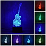 Etzon Technologies 3D Night light Guitar 7 Color LED 3D Lamp Decorative Lights 3D Illusion Night Lights (Guitar 1)