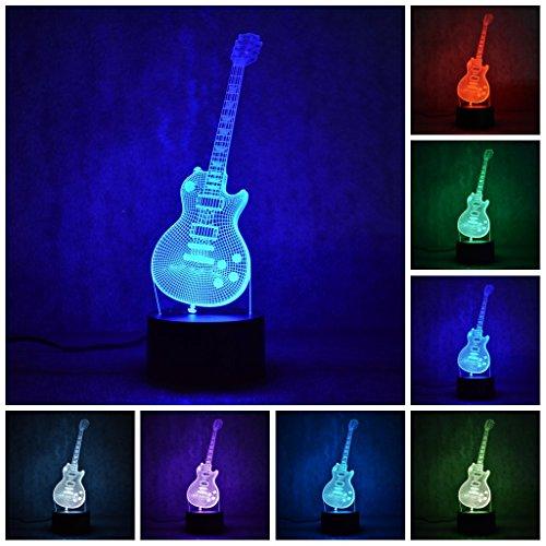Etzon Technologies 3D Night light Guitar 7 Color LED 3D Lamp Decorative Lights 3D Illusion Night Lights (Guitar 1) by Etzon Technologies
