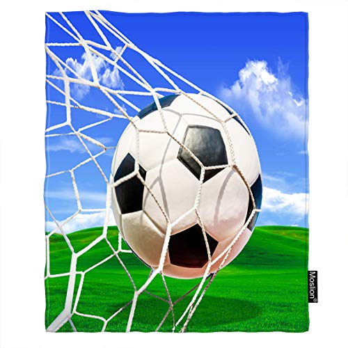 Moslion Soccer Blanket Sports White and Black Football in Ball Net in Green Field Grass Blue Sky Throw Blanket Flannel Home Decorative Soft Cozy Blankets 60x80 Inch for Adults Kids Sofa