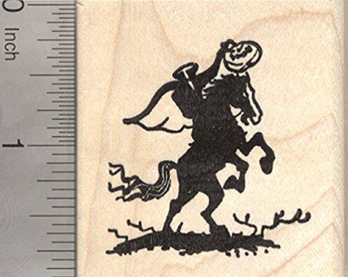 Headless Horseman Halloween Rubber Stamp, Rider with Pumpkin Head]()