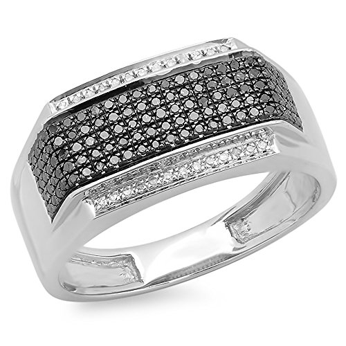 Dazzlingrock Collection 0.42 Carat (ctw) Platinum Plated Sterling Silver Black & White Diamond Men's Hip Hop Ring, Size 10