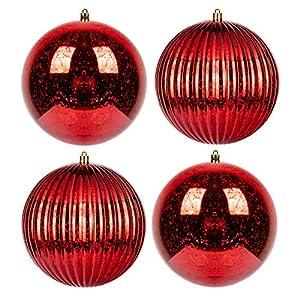 Best Epic Trends 51plRYxrffL._SS300_ KI Store Large Red Christmas Ball Ornaments 6-Inch 4pcs Hanging Tree Ornament Decorations Shatterproof Vintage Mercury…