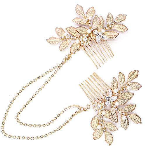 Vintage Bridal Gold leaf Hair Comb Headpiece Greek/Roman Bridal Hair Accessories for Women Wedding with Pearl Rhinestone (Gold 1)