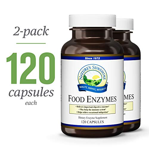 Natures Sunshine Food Enzymes, 120 Capsules, 2 Pack | Digestive Enzymes with Betaine HCL Support The Digestive System and Provide Occasional ...