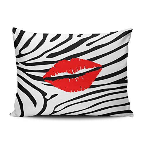 XIUBA Pillowcases White Zebra Red Lipstick Personalize Customizable Cushion Decorative Rectangle 12x18 inch Boudoir Size Throw Pillow Cover Case Hidden Zipper One Side Design Printed