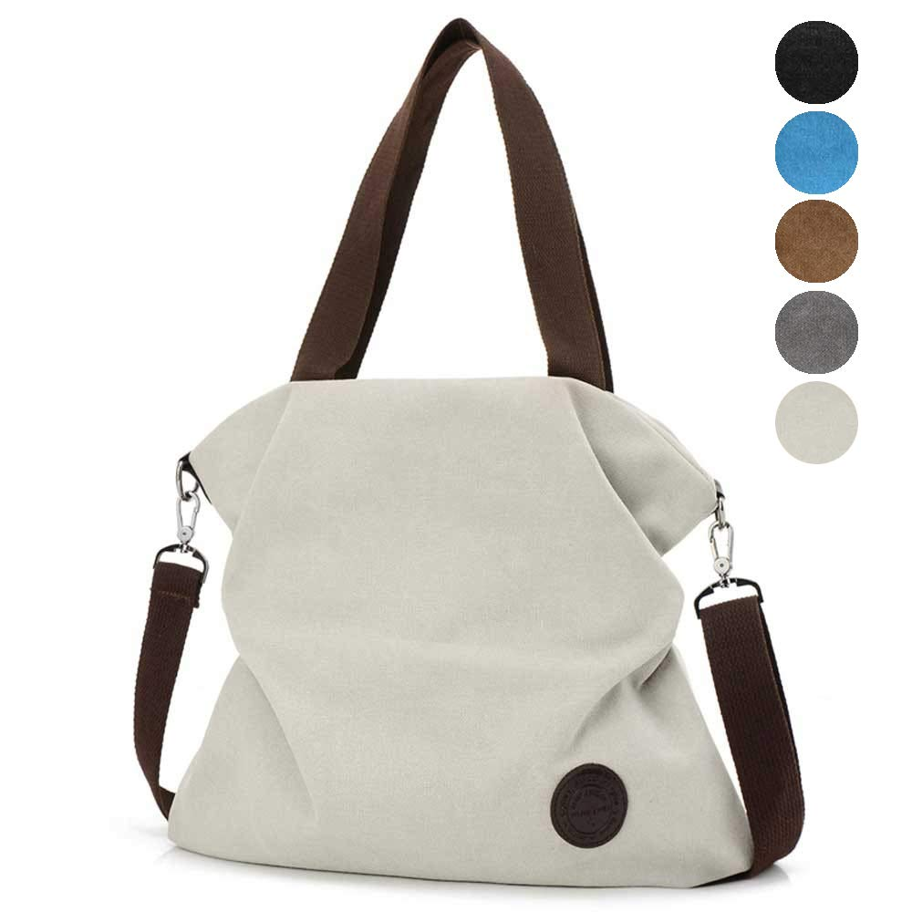 Injoy Women Casual Canvas Shoulder Bags Cross-Body Bag Messenger Bag Tote Bags, White