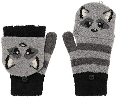 Capelli New York Ladies Raccoon Flip Top Magic Glove With Button Closure Grey Combo One Size -