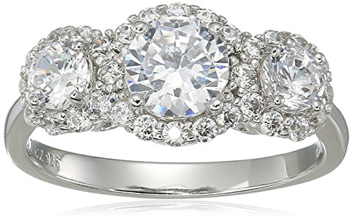 Sterling Silver Cubic Zirconia Three Stone Halo Engagement Promise Ring, Size 7 by Amazon Collection (Image #1)