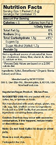 Now Foods Xylitol Plus Sweetner Packets, 75 count, 2 Pack