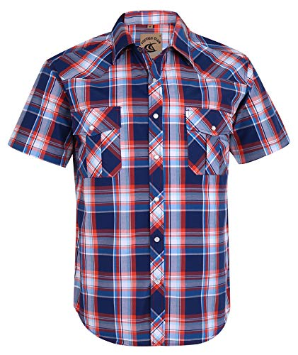 (Coevals Club Men's Button Down Plaid Short Sleeve Work Casual Shirt (Red & Blue #15, L))