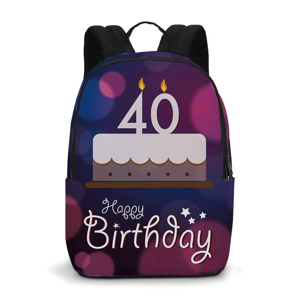 40th Birthday Decorations Modern simple Backpack,Big Color Dots and Graphic Cake Candles Hand Writing Stars for school,11.8''L x 5.5''W x 18.1''H