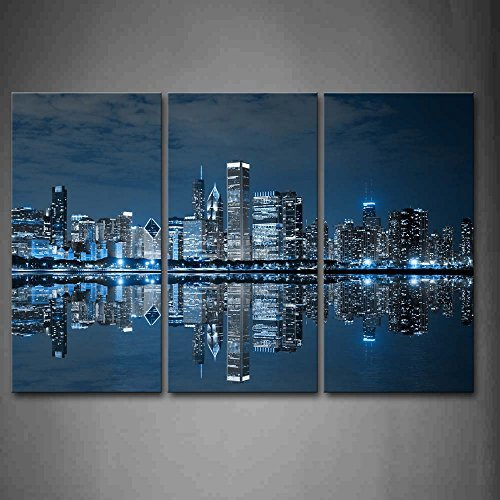 Blue Cool Buildings in Dark Color in Chicago Wall Art Painting The Picture Print On Canvas City Pictures for Home Decor Decoration Gift (Chicago Skyline Wall Art)