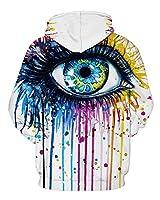 GLUDEAR Unisex Realistic 3D Digital Print Pullover Hoodie Hooded Sweatshirt,Eyes,L