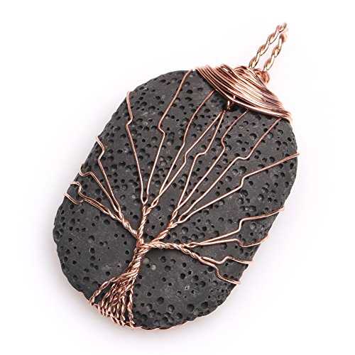 - GEM-Inside Gorgeous Lava Gemstone Black Worry Stone Handmade Wire Wrap Semi Precious Healing Point Chakra Pendant and Material for Necklace Making 29x43mm
