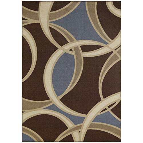 (Maples Rugs Area Circle 7 x 10 Non Slip Large Rug [Made in USA] for Living, Bedroom, and Dining Room, Coffee Brown/Blue)