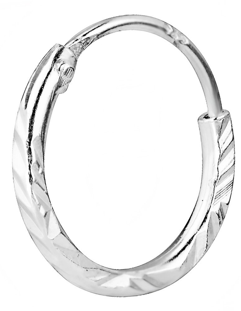 .925 Sterling Silver Hypoallergenic 3/8'' Hammered Finish Cartilage Hoop Earring (Sold Individually)