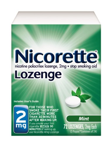 - Nicorette Nicotine Lozenge to Stop Smoking, 2mg, Mint, 72 Count