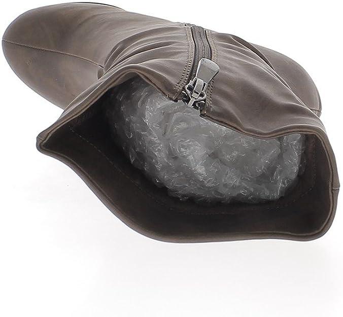 Stivali Caldo Zeppa Tacco di Cuoio Marrone 8,5 cm 40