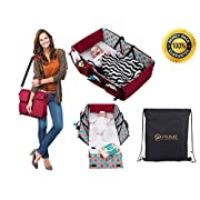 3 in 1 Travel Bassinet Diaper Bag Change Mat, Non Toxic, Waterproof Premium Quality, Lightweight, Baby Travel Crib, Stroller Handles, Bonus Free Draw-String Bag, Mulitfunctional Portable Carry Cot
