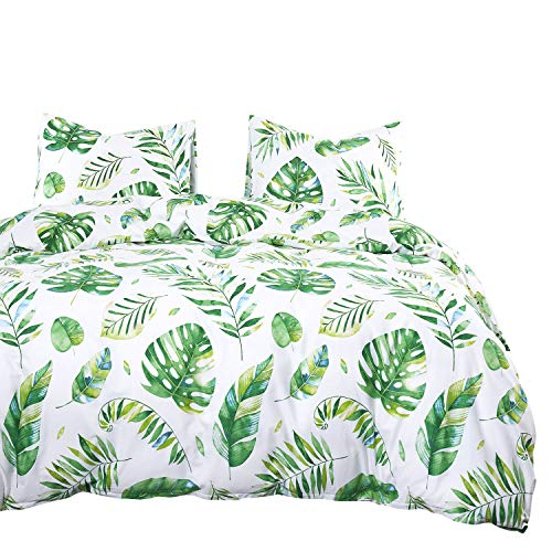 Wake In Cloud - Tree Leaves Comforter Set, 100% Cotton Fabric with Soft Microfiber Fill Bedding, Green Monstera Plant Banana Leaves Pattern Printed on White (3pcs, King Size)