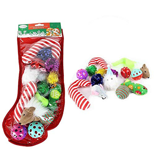 Midlee Christmas Stocking Cat Toy Gift Set (14 Toys)