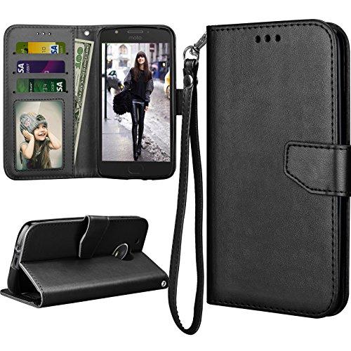 Moto E4 Plus Case, 2017 Motorola Moto E Plus 4th Generation Flip Cover, Tekcoo Luxury PU Leather [Coal Black] Wallet ID Cash Credit Card Slots Holder Clutch Carrying Cases w/Kickstand & Lanyard