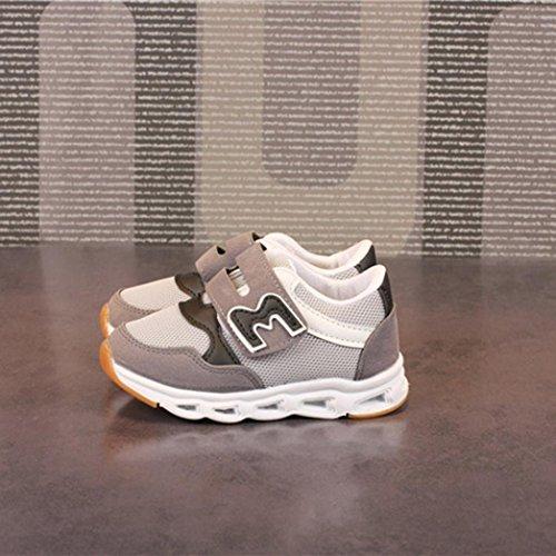 Prevently Kinder Turnschuhe Jungen Sportschuhe Mädchen Mesh Brief LED Leuchten Leucht Turnschuhe Schuhe Sneaker Outdoor Hallenschuhe Laufschuhe Sneakers Laufen Schuhe Grau