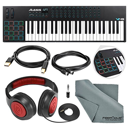 Alesis VI49 25-KeyUSB/MIDI Keyboard & Drum Pad Controller with Samson Over-Ear Headphone, Cables, and Microfiber Cloth -