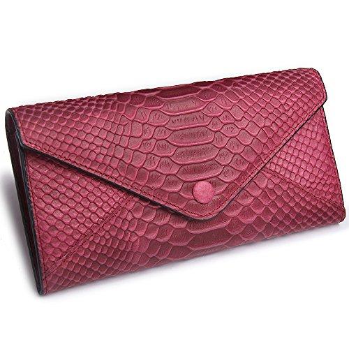 Womens 2 size Crocodile Grain Leather Handbag Shoulder bag (Black) - 9